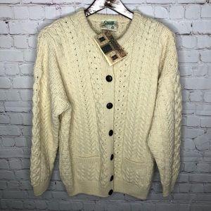 NEW Carraig Donn Irish Wool Fisherman Aran Sweater